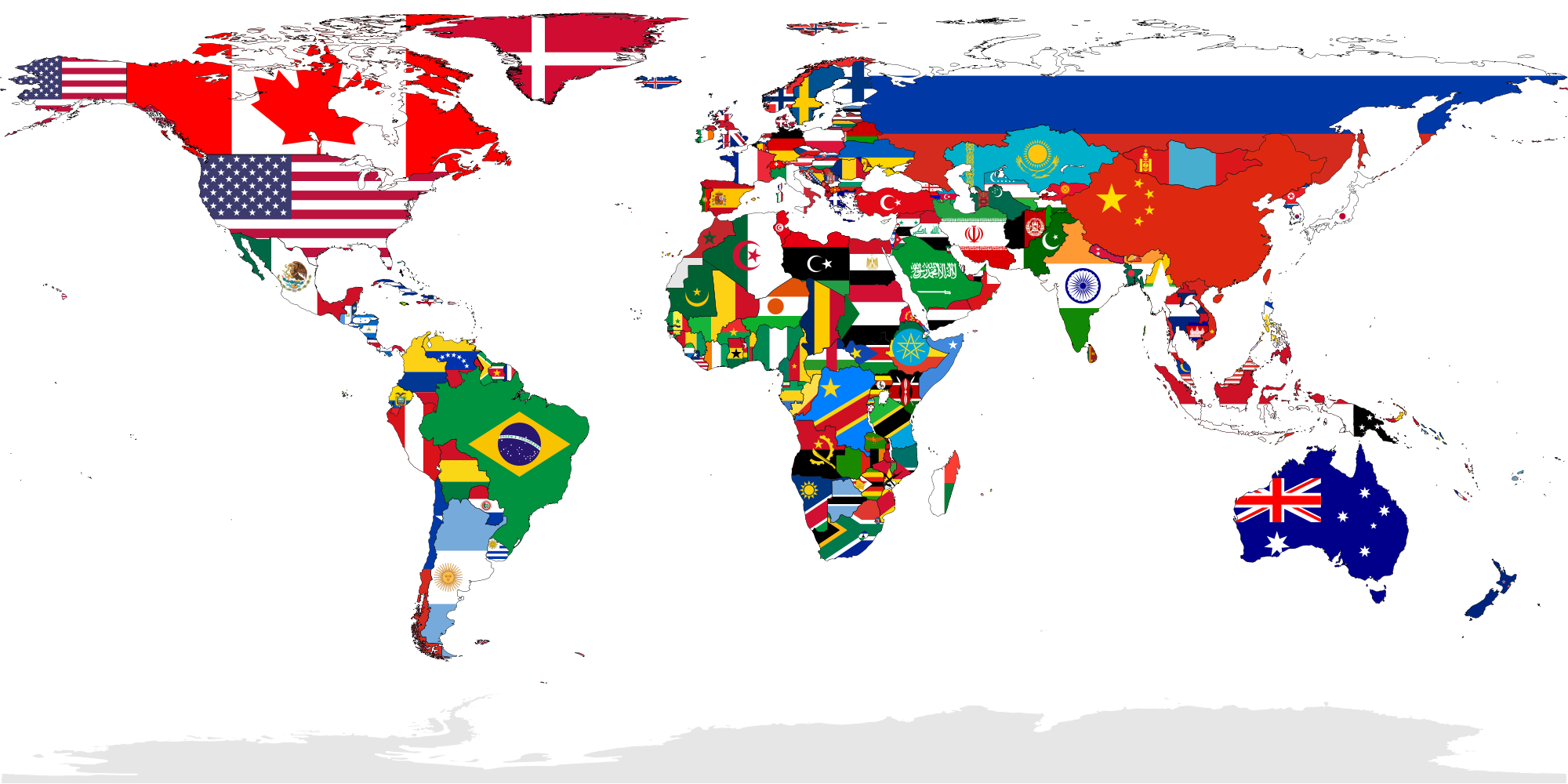 map of the world showing flags